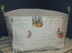 Large Fabric Diaper Storage Bin Organizing Bucket madew Pottery Barn Kids Peter Rabbit Nursery Fabric