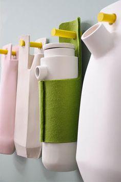 Un petit encart dans le dernier Milk décoration présentait la série Naked, «mise à nu», née de la collaboration du studio néerlandais Elke van den Berg et Rachel Griffin (ci-dessous). J'ai tout de suite été attirée par le mix des matières, les tons pastel et la touche de fluo qui va bien. Le principe de Lire
