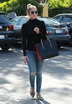 Jennifer Lopez Turtleneck - Jennifer Lopez kept cozy in a black turtleneck for a day out in Calabasas.