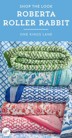 Love the vibrant, colorful look of Roberta Roller Rabbit's signature prints and patterns? Shop our favorite selection of her patterned pillows, duvets, sheets and shams right here on One Kings Lane!