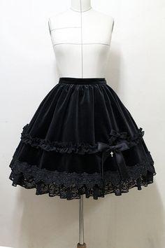 Black velvet gothic lolita skirt