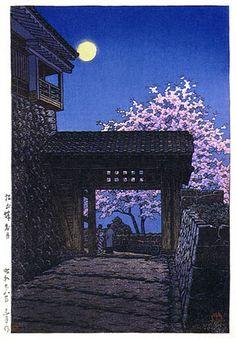 Bright Moon at Matsuyama Castle by Kawase Hasui, 1953 (published by Watanabe Shozaburo)
