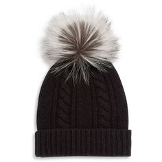 Saks Fifth Avenue Collection Cashmere & Fox Fur Pom-Pom Hat ($195) ❤ liked on Polyvore featuring accessories, hats, apparel & accessories, cashmere pom pom hat, cashmere beanie, pom beanie, cable knit beanie hat and fox beanie