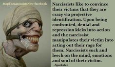 Narcissists like to convince their victims that they are crazy via projective identification.