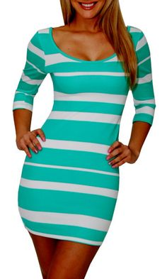 Mint Green & White Striped Dress - via GreatGlam.com (Great Glam is the best clothes shop to buy sexy dresses, clubbing tops, party shirts, and high heel shoes online at great cheap prices. They sell club tops, casual and dress women's shirts, short skirts, sexy mini dresses, cute shoes, and bra alternatives for wear under clothing.)