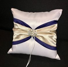Navy Blue & Champagne Wedding Ring Bearer Pillow