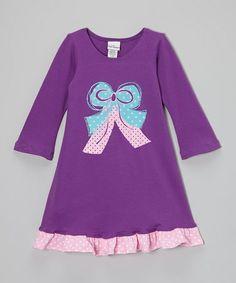 Love this Plum Bow Swing Dress - Girls on #zulily! #zulilyfinds