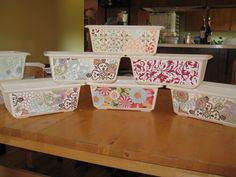Decoupaged plastic bins for organizing