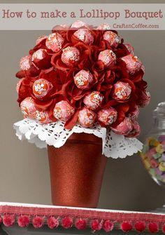 Valentine Craft: A Valentine Lollipop Tree dressed up as a Lollipop Bouquet