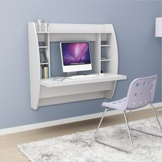 White Floating Desk With Storage. This Office Desk Furniture Is A Space Saving Solution For Any Home. Each Home Office Desk Is Easy To Mount And Features Ample Storage Space. Add This Modern Home Office Furniture To Your Workspace Today. Wall Mounted Desk, Wall Desk, Shelf Desk, Table Shelves, Mounted Shelves, Shelf Wall, Desk Chair, Home Office, Office Den