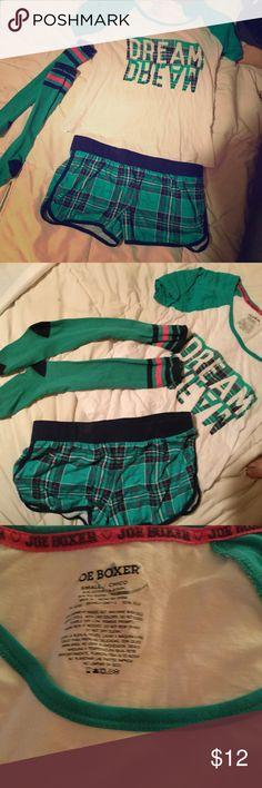 PJ'S! Matching crop top, shorts &knee high socks. Joe Boxer, size Small. Matching Jammie's, crop top, shirts and knee highs. Very cute, worn once or twice. joe boxer Intimates & Sleepwear Pajamas