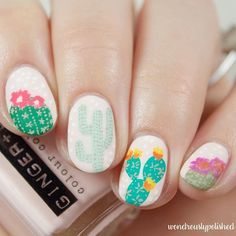 Express yourself with nude nails and cute #cactus designs! Design by @wondrouslypolished! #nailart | Featured by @MendaBeauty
