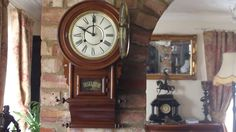 Antique Mahogany Wall Clock with Chimes Chiming Wall Clocks, Antique Clocks, Antiques, Table, Ebay, Home Decor, Vintage Watches, Antiquities, Antique