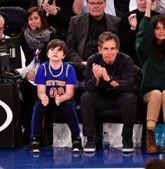 Quinlin Stiller and Ben Stiller attend the New York Knicks Vs San Antonio Spurs game at Madison Square Garden in New York City on Jan. 2, 2018.