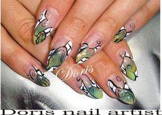 aquarium stiletto abstract nail art gree by doris from Nail Art Gallery