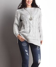 This Grey Cable-Knit Sweater - Plus is perfect! #zulilyfinds