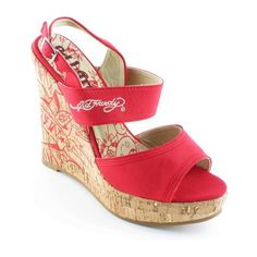 Dámské sandály Ed Hardy na platformě v červené barvě.