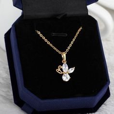 45.5cm Two Colors Fashion Dragonfly Shape Inlay Zircon Pendant Copper Necklace