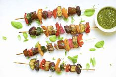 Grilled Balsamic Veggie Kabobs with Vegan Pesto