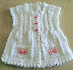 "diy_crafts- Örgü modelleri yelek bebek ""Sweet baby vest for our little girls. And This products selinng from knitter if you want to buy you can c Baby Knitting Patterns, Baby Patterns, Crochet Patterns, Gilet Crochet, Knit Crochet, Crochet Hats, Knitted Hats, Baby Cardigan, Vest Pattern"