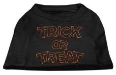 Mirage Pet Products Trick or Treat Rhinestone Shirt, Large, Black