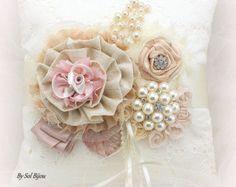 Ring Bearer Pillow Ivory Cream Gray Silver Rose Dusty by SolBijou