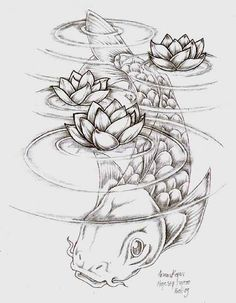 "Koi fish are the domesticated variety of common carp. Actually, the word ""koi"" comes from the Japanese word that means ""carp"". Outdoor koi ponds are relaxing. Koi Fish Drawing, Koi Fish Tattoo, Fish Drawings, Tattoo Drawings, Pencil Drawings, Art Drawings, Carp Tattoo, Tattoo Ink, Koi Art"