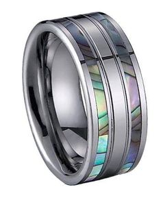Mens Tungsten Ring with Shell Inlay. Interesting men's wedding ring, I like it.