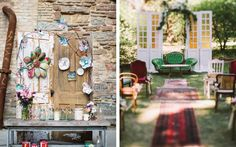 The paper and mixed media art on this vintage door is everything!  Not to mention the beautiful wedding backdrop that these vintage doors and couches make for this boho outdoor wedding! doors and weddings, vintage doors, wedding ideas, wedding decor, vintage wedding, outdoor wedding, repurposed doors, recycled design, recycled wedding