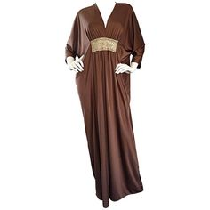 e7580b6efb Vintage Lucie Ann Of Beverly Hills Light Brown + Gold Grecian Caftan Dress