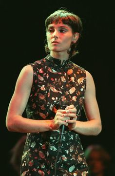 Sinead O'Connor dressed as a priest while performing in 1999.