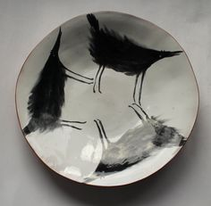 Three chubby wolves - big cersmic bowl, ceramic plate, hand painted bowl