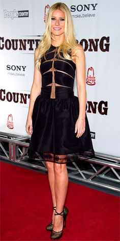 Gwyneth Paltrow in a Chado Ralph Rucci dress and mesh Lanvin heels