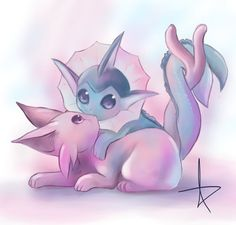 Aww! Purple and blue, Chronicle and Serena. Just realized that they don't seem to have any of just Espeon and Leafeon, or just Vaporeon and Leafeon. Maybe because of the tails?