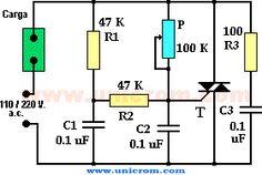 Dimmer / Control de velocidad de motor AC con triac. Circuito para armar de un control de velocidad de un motor de corriente alterna utilizando un Triac