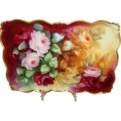 Antique Hand Painted Artist Signed and Dated 04 Tray with Roses This beautiful, hand painted, antique tray features a romantic bouquet filled with