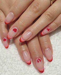 Swag Nails, My Nails, Red Tip Nails, S And S Nails, Nagellack Design, Nail Tattoo, Valentine's Day, Funky Nails, Colorful Nails
