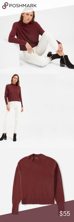 Brand new Everlane cashmere crop sweater Beautiful mock neck 100% cashmere crop sweater in Cabernet. This season, never worn. Size large but looks good on small/medium too for slouchier look. So soft and beautiful color! Everlane Sweaters Cowl & Turtlenecks