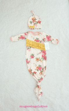 ddf3246d4fe2f Take Home Outfit Ruffled Vintage Floral Tie Baby Girl Gown with Matching  Winkie Hat Knot Baby