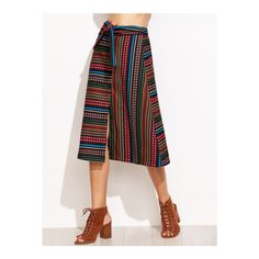 Multicolor Striped Self Tie Button Front Skirt (120 RON) ❤ liked on Polyvore featuring skirts, multicolor skirt, stripe skirt, button front skirt, multi colored skirt and multi color skirt