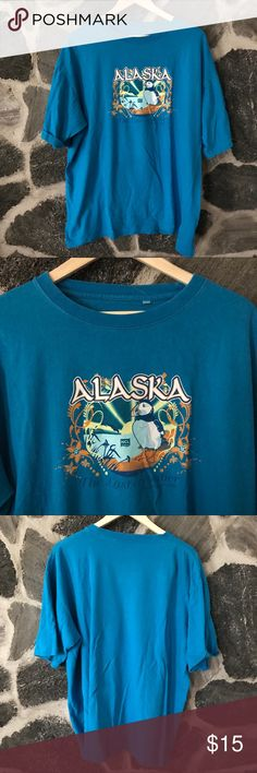▪️v i n t a g e : alaska souvenir t-shirt v i n t a g e : oversized bright blue Alaska souvenir travel t-shirt. Blue is still very bright. Shirt is in good condition, is oversized but comfortable and lighter weight cotton fabric. Comfortable. Broken in.  Size xxlarge. --- #shop #freeship #sale #bogo #clearance #deal #gift #present #vintage #vtg #retro #alaska #travel #souvenir #vacation #bright #oversize #boyfriend #tee Vintage Shirts Tees - Short Sleeve