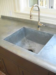 zinc counter with integrated sink