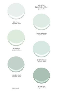 The Perfect Blue-Green Benjamin Moore Paint Colors - Sea Foam, Come Sail Away, Bath Salts, Sweet Dreams, Palladian Blue & Wythe Blue Blue Green Paints, Green Paint Colors, Interior Paint Colors, Wall Colors, House Colors, Coastal Paint Colors, Cottage Paint Colors, Coastal Color Palettes, Hallway Colors