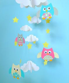 Baby Mobile Owls and Clouds Hanging Mobile Owl by goshandgolly