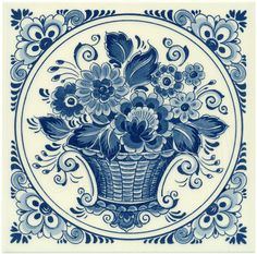 Flower Basket, Dutch Delft Tile 6""