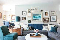 Rectangular Tray on a Round Table; I love everything about this room! Colors, art, style, placement! I want it! Now!