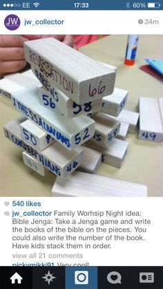Jenga Family Worship. Write the books of the bible onto Jenga pieces and have your child stack them in order.