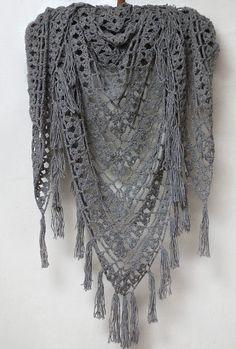 Crochet linen boho shawl, crochet linen wrap, knitted gray shawl, crochet gray shawl, tassel shawl, boho linen wrap READY TO SHIP by SanniKnitting on Etsy