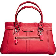 """COACH PENELOPE LEATHER LARGE SHOPPER # 13160 COLOUR : CORAL DIMENSIONS: 14 1/4"""" (L) x 81/2"""" (H) x 5"""" (W) Coach fine, soft pebbled leather with leather trim 19"""" double leather straps with studded details Approx. 8 """" drop Coach patent leather handtag Exterior front zip pocket Open top with interior magnetic snap closure Interior center divider zip pocket Inside zip pocket/ multifunction slip pockets Pink & red stripe sateen fabric lining interior Coach leather creed with serial number"""