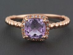 Natural 0.90ct Cushion Cut Pink Amethyst and Diamond Engagement/Right Hand Ring set in 14k Rose Gold